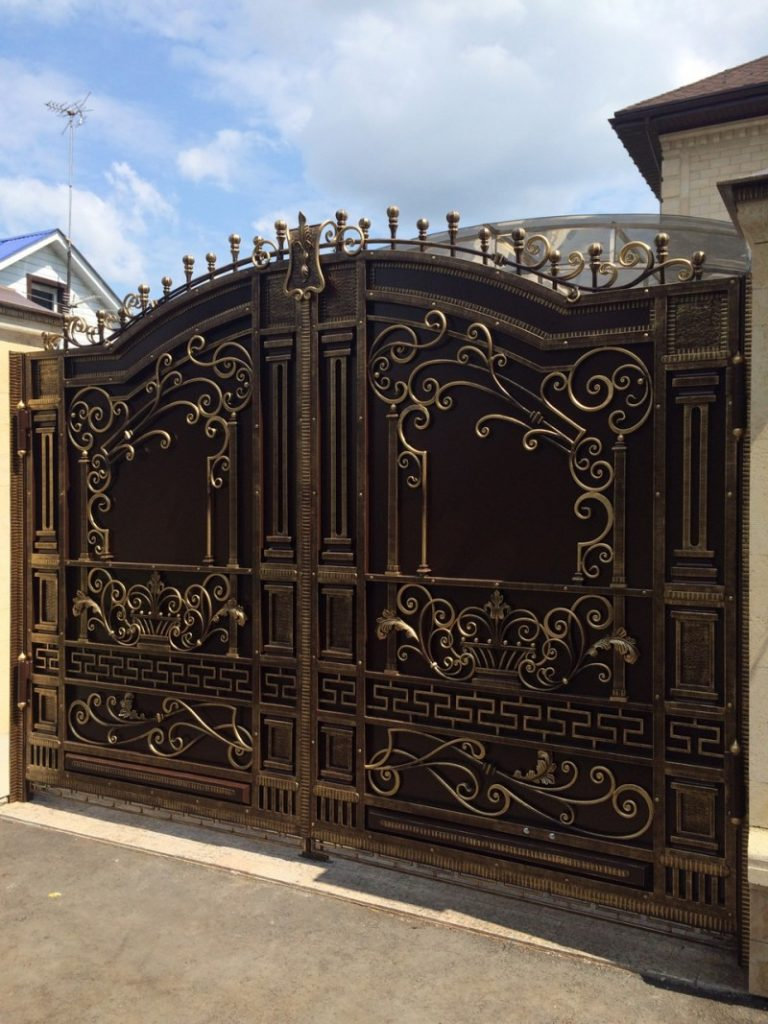 Ворота из профнастила с элементами ковки своими руками фото 1000